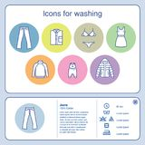 Multicolored icons and symbols of washing on a light background. Women`s men`s and children`s clothes icons Royalty Free Stock Image