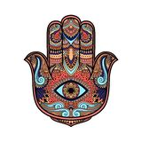 Multicolored illustration of a hamsa hand symbol. Hand of Fatima religious sign with all seeing eye. Vintage boho style. Vector il. Lustration in doodle zen Royalty Free Stock Photo