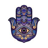 Multicolored illustration of a hamsa hand symbol. Hand of Fatima religious sign with all seeing eye. Vintage boho style. Vector il. Lustration in doodle zen Stock Image