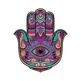 Multicolored illustration of a hamsa hand symbol. Hand of Fatima religious sign with all seeing eye. Vintage boho style. Vector il. Lustration in doodle zen Stock Photography