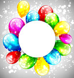 Multicolored inflatable balloons with circle frame on grayscale Royalty Free Stock Image