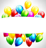 Multicolored inflatable balloons with frame on grayscale Stock Image