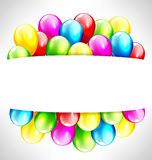 Multicolored inflatable balloons with frame on grayscale Stock Images