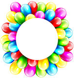 Multicolored Inflatable Celebration Bright Balloons with Circle. Frame Isolated on White Background Stock Images
