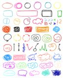 Illustration. Art creation. Multicolored infographic elements isolated on white. Set of different indicator signs. Tangled backdrops. Hand drawn simple objects royalty free illustration