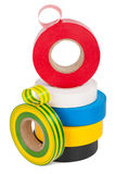 Multicolored insulating tapes roll Royalty Free Stock Image