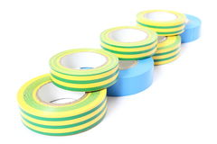 Multicolored insulating tapes on white background Stock Photos