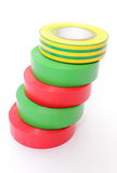 Multicolored insulating tapes on white background Royalty Free Stock Image