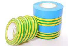 Multicolored insulating tapes on white background Stock Image