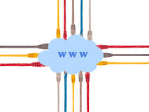 Multicolored internet cables connected to the World Wide Web. Royalty Free Stock Photography