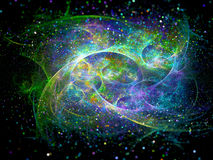 Multicolored interstellar force fields in space with particles Stock Images