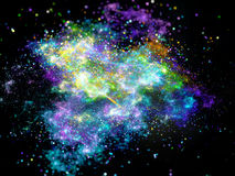 Multicolored interstellar nebula in space with particles Stock Image