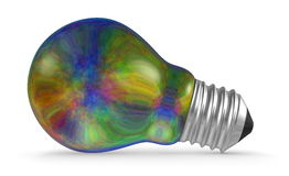 Multicolored iridescent light bulb lying isolated on white Stock Image
