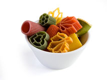 Multicolored italian pasta in bowl Stock Photography