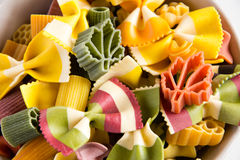 Multicolored italian pasta Stock Images