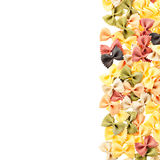 Multicolored italian pasta white isolated background Royalty Free Stock Photography