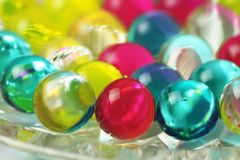 Multicolored jelly air freshener balls. Colorful abstract background stock photo