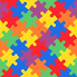 Multicolored jigsaw puzzle in diagonal arrangement. Playful and children theme. Simple flat vector illustration Stock Photography