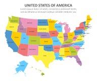 Multicolored kaart van de V.S. met staten Vector illustratie vector illustratie