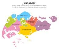 Multicolored kaart van Singapore met gebieden Vector illustratie royalty-vrije illustratie