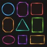 Multicolored kaders van de neon vectorgrens Eenvoudige vormen van lichte banners vector illustratie