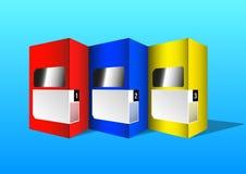 Multicolored kartondoos voor product verpakking stock afbeelding