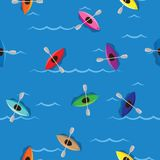 Multicolored kayaks with paddlers on blue water background. Seamless pattern colored kayaks and paddlers for water sport Stock Photography