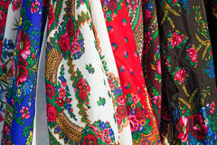 Multicolored kerchiefs for sale Stock Images