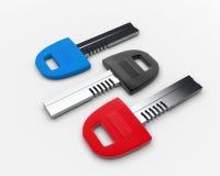 Multicolored keys Stock Photos