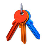 Multicolored keys. Isolated on white background. Royalty Free Stock Photos