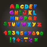 Multicolored kids Vector Font,  letters, numbers Royalty Free Stock Photo