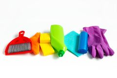 Free Multicolored Kit For Bright Spring Cleaning In The House. Spring Concept. Royalty Free Stock Photography - 144560737