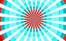 Multicolored kleurrijke retro uitstekende oude mooie mooie bont bont blauwe rode witte stralen, cirkelwolkenachtergrond vector illustratie