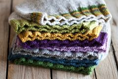 Multicolored knitted hats royalty free stock photo