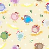 Multicolored kuikens, wormen en einesten Grappig origineel vectorpatroon voor uw ontwerp Royalty-vrije Stock Foto's