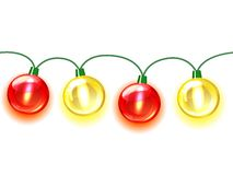MultiColored lamp festive garland. Seamless. On white background Royalty Free Stock Photo