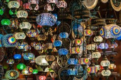 Multicolored lamps. Colorful hand-made lamps hanging in Turkish bazaar Stock Photos