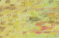 Multicolored large and rough horizontal brush strokes. Oil paint. Multicolored large and rough horizontal brush strokes. A warm range of evening sky at sunset Royalty Free Stock Images