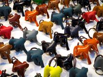 Multicolored Leather Elephant Key Rings royalty free stock photos