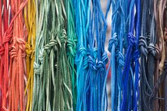 Multicolored leather laces with a Knot. Colorful Leather rope , Multicolored laces with a Knot Royalty Free Stock Photo