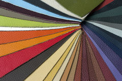 Multicolored leather samples - closeup Stock Photography