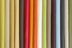 Multicolored leather samples - closeup Stock Images