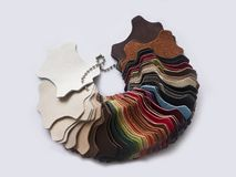 Multicolored leather samples - isolated Royalty Free Stock Images