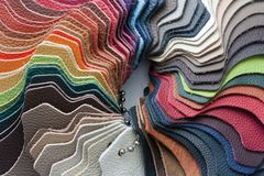 Multicolored leather samples Stock Photos