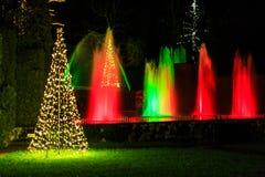 Multicolored licht toont met waterfontein in tuin Stock Afbeelding