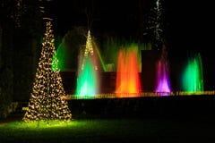 Multicolored licht toont met waterfontein in tuin Royalty-vrije Stock Afbeeldingen