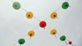 Multicolored lichten die op de straten van Nha Trang hangen stock video