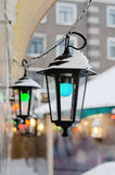 Multicolored lights the Christmas market Royalty Free Stock Photography