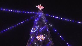 Multicolored lights on the Christmas tree stock video footage