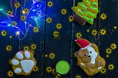 Multicolored lights. Sweets and ornaments. Dark background Royalty Free Stock Image